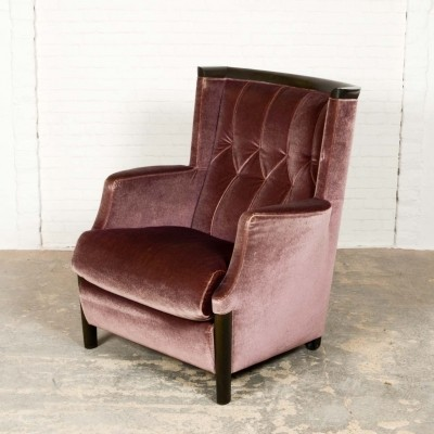 Mid-Century Purple Velours Lounge Chair Designed for Giorgetti, 1970s