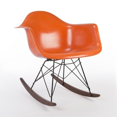 Original Herman Miller Eames Orange RAR Rocking Arm Shell Chair
