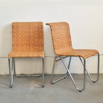 Pair of Diagonal dinner chairs by W. Gispen for Gispen, 1960s