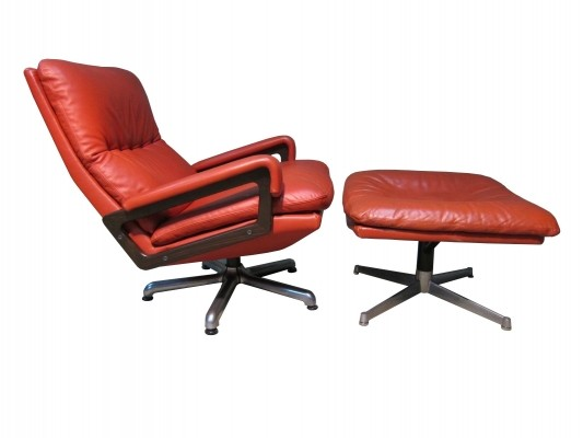 Vintage Strässle international King lounge chair + ottoman by André Vandenbeuck, 1965