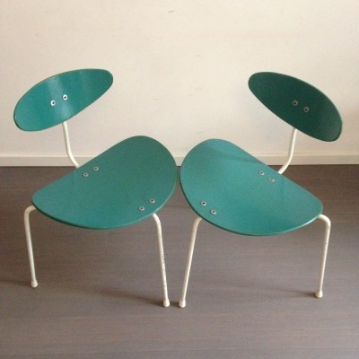 2 x Unicorn dinner chair by Ernest Race, 1950s