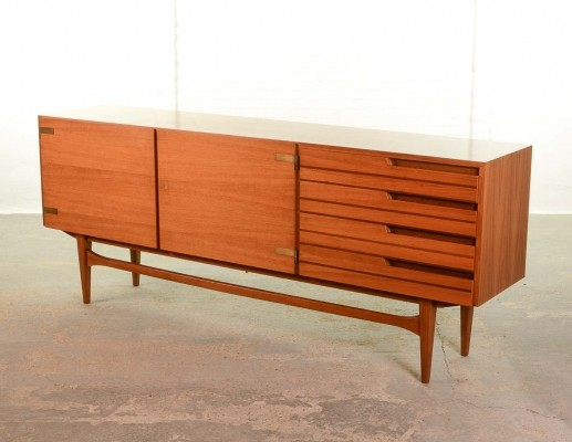 Satinwood Sideboard - Credenza with Two Tone Drawers & Brass Hinges
