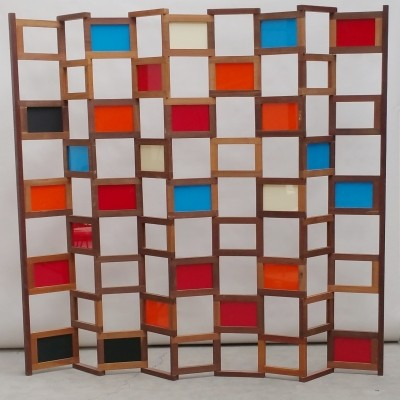 Teak Room Divider with Interchangeable Perspex Panels