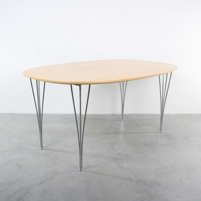 Elliptical birch dining table by Arne Jacobsen & Piet Hein for Fritz Hansen, 1960s