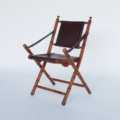 Officer's Leather & Teak Folding Chair