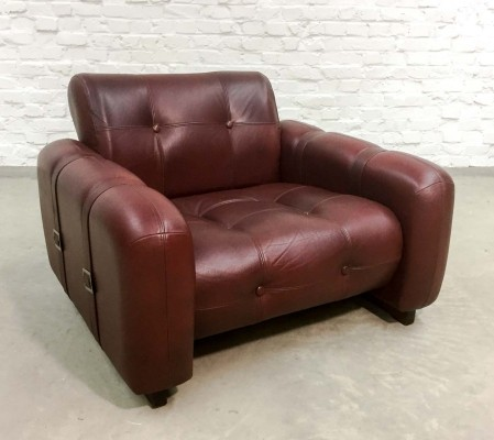 Burgundy Capped Leather Cubistic Lounge Chair with Straps, 1960s
