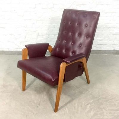 Dutch Design Burgundy Red Leatherette Lounge Chair, 1960s