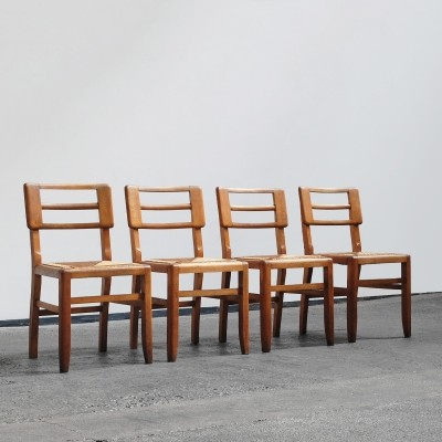 Set of 4 French dinner chairs, 1950s