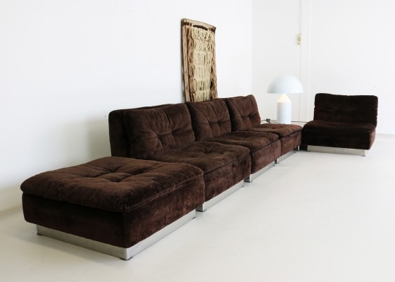 Brown velvet Saporiti seating group, 1970s