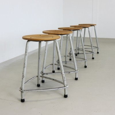 Set of 5 industrial Friso Kramer stools, 1963