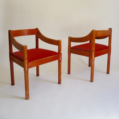 Pair of Carimate Carver armchairs by Vico Magistretti, 1960s