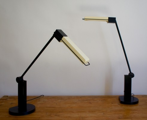Pair of Artemide Alistro Tavolo Fluorescent Table Lamps, 1980s