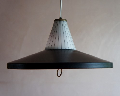 Mid Century French black enamelled pendant light, 1950s
