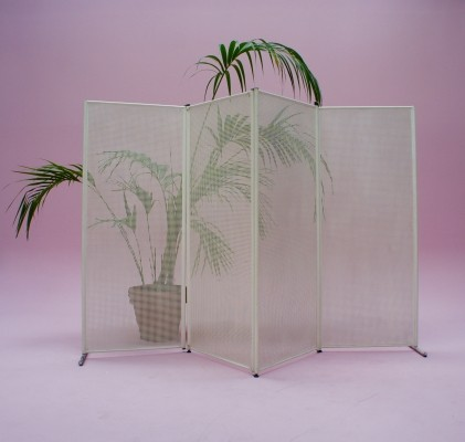 Large Punched Metal Room Divider Screen, 1970s