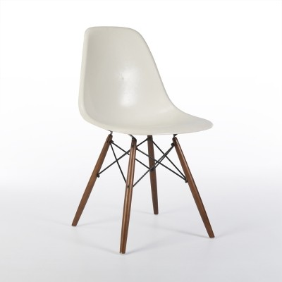 Original White Herman Miller Eames DSW Side Chair