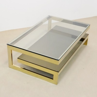 Gold G-Shape Coffee table by Belgo Chrom, 1970s