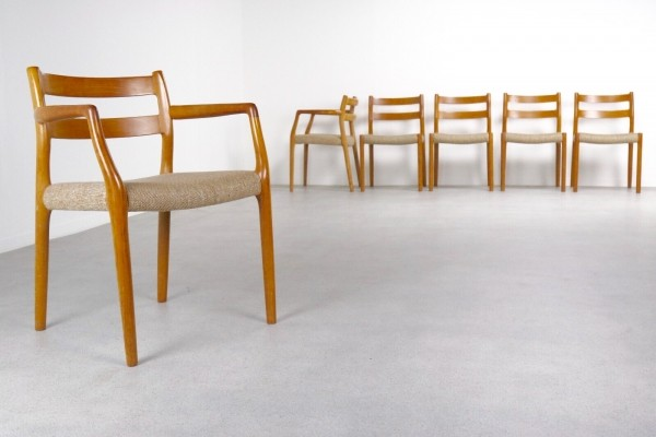 Set of 6 Model 67 + 84 Teak dining chairs by Niels Otto Møller for JL Møllers Møbelfabrik, 1960s