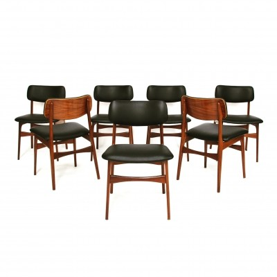Set of 7 Danish teak dining chairs with new calf skin leather, 1950s