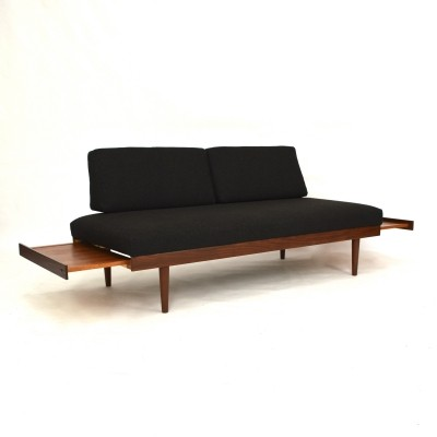 Daybed sofa with extractable coffee tables, 1950s