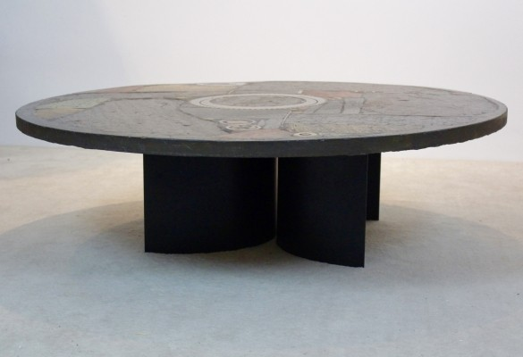 Brutalist Paul Kingma One-Off Ceramic & Brass Artwork Coffee Table, The Netherlands 1970s