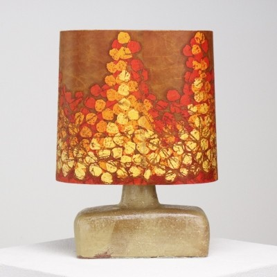 Handmade pottery desk lamp by Marianne Koplin for Batik Atelier, 1970s