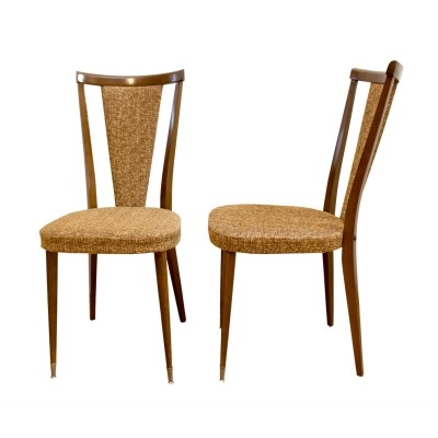 Pair of French walnut chairs, 1970s