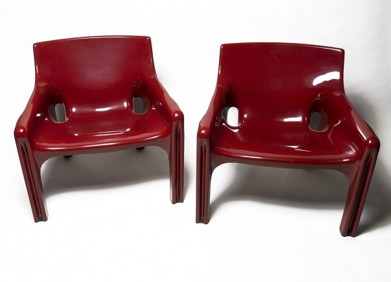 Pair of Vicario arm chairs by Vico Magistretti for Artemide, 1960s