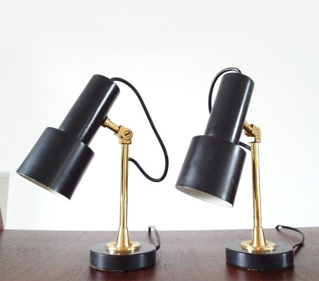 Pair of Original Brass & Black Stilnovo Table Lamps, Italy, 1950s