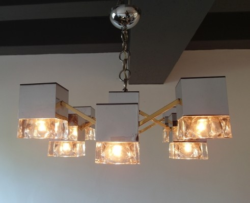 Sciolari Mirrored Chandelier with Glass Cubes & Brass, Italy 1970s