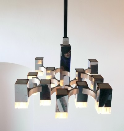 Sciolari Chandelier with 13 Multi-Level Metal & Lucite Lights, Italy 1970s