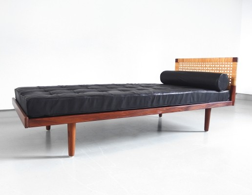 Hans Wegner Getama Teak Daybed with Black Leather Upholstery, Denmark