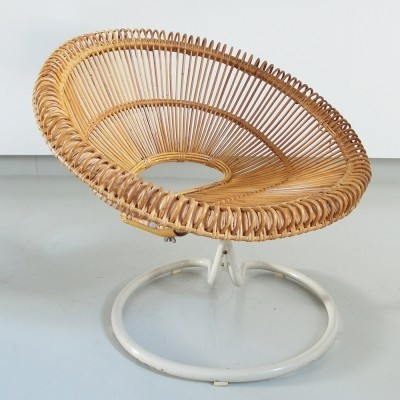 Rare Rattan Lounge Chair on Swivel Base, France