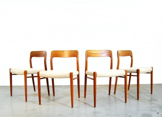 Set of 4 No 75 dinner chairs by Niels O. Møller for JL Møller Møbelfabrik, 1960s