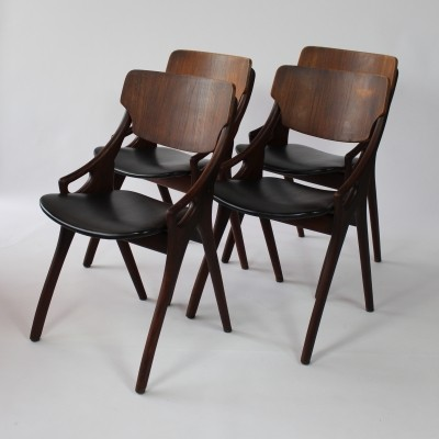 Set of 4 dinner chairs by Arne Hovmand Olsen for Mogens Kold, 1950s