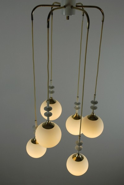 Early 60s Hanging Lamp in Glass & Messing