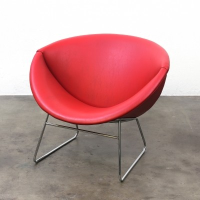 Red Rohé lounge chair by Rudolf Wolf, 1950s