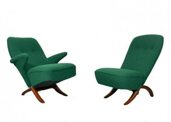 Pair of Congo & Penguin lounge chairs by Theo Ruth for Artifort, 1950s