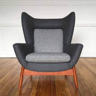 Reupholstered 1960s Easy Chair Cherrywood With Midnight