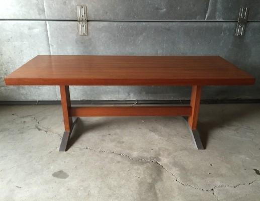 Danish design teak coffee table with aluminium feet, 1960s