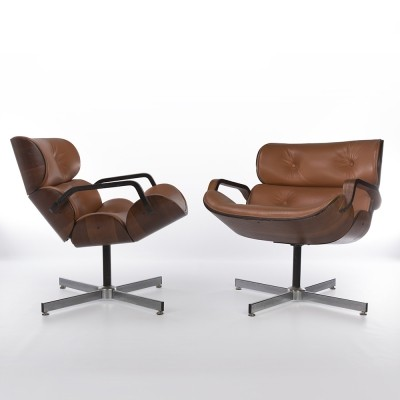 Original Pair Tan Upholstered Rosewood Plycraft Mulhauser Lounge Chairs