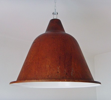 40 x Hanging lamp in oxidized steel sheet, 1960s