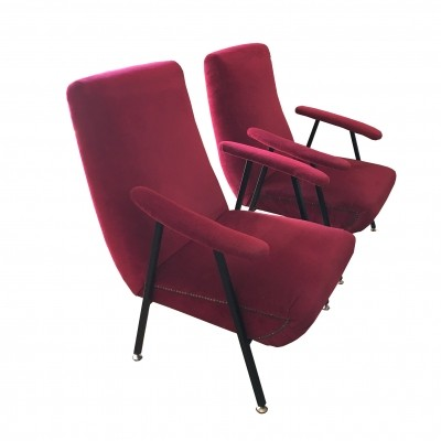 Pair of armchairs with metal frame & red fabric lining, 1960s