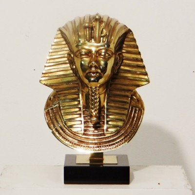 Gilded Pharao head by Belgo Chrom, 1970s