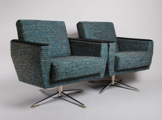 Pair of Lounge chairs with blue, white & brown upholstery, 1950s