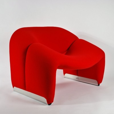 Artifort Red Groovy Chair F598 (M Chair) by Pierre Paulin