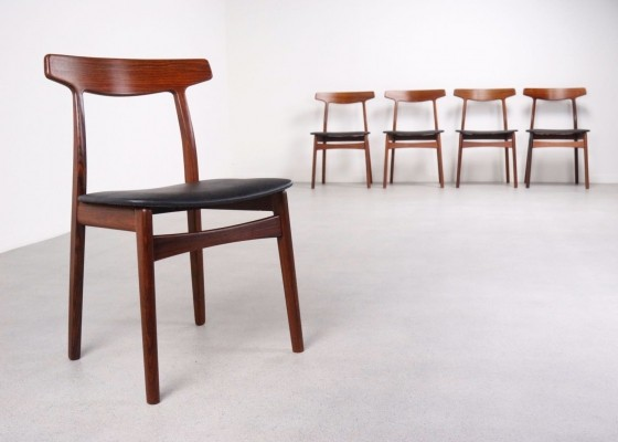 4 x Model 60 Rosewood dining chair by Henning Kjærnulf for Bruno Hansen, 1950s