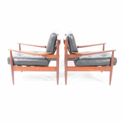 Pair of Sissoo wood lounge chairs, 1960s