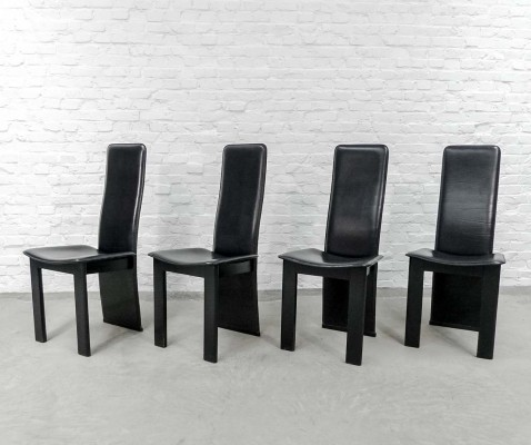 Black Sadle Leather High Back Dining Chairs, 1970s
