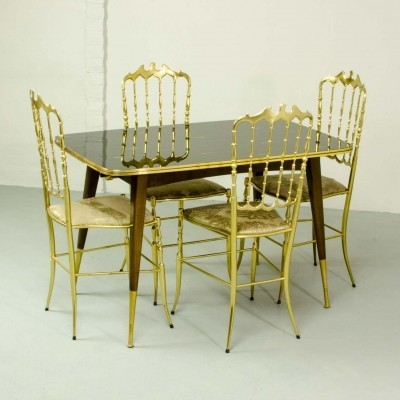 Italian Dining Set of 4 Brass Chiavari Chairs & Dining Table, 1950s