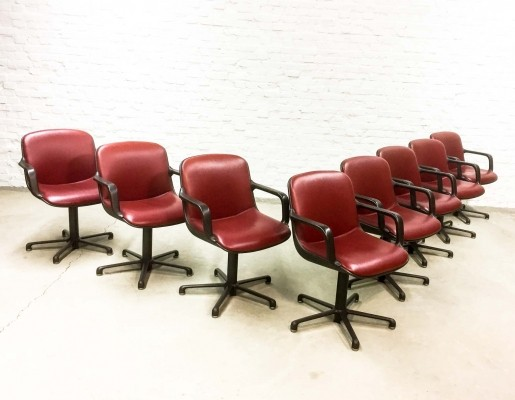 Red Leather Executive Chairs designed by Charles Pollock for Comforto